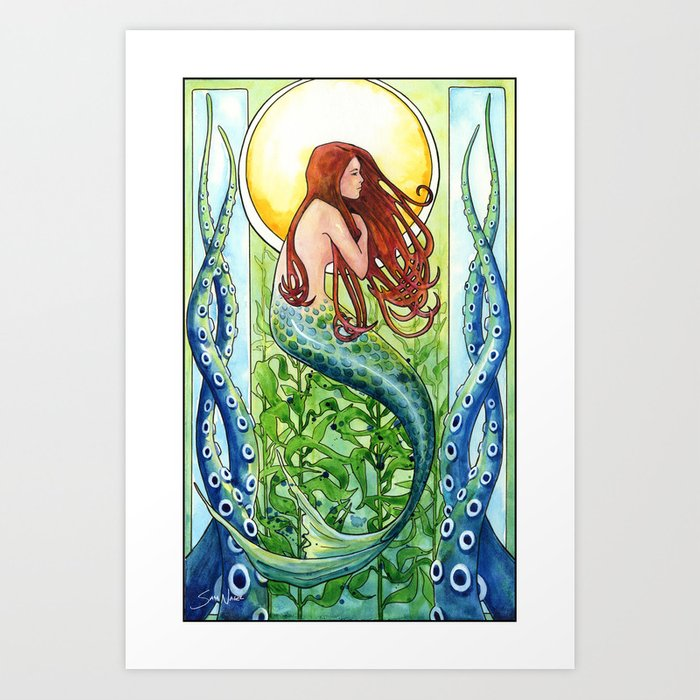 Mermaid Gifts Mermaid Decor Mermaid Art Print Mother S: Kelp Forest Mermaid Art Print By Samnagel