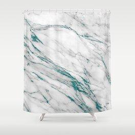 Gray Marble Aqua Teal Metallic Glitter Foil Style Shower Curtain