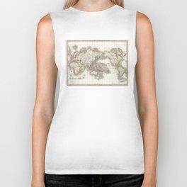 Vintage Map of The World (1832) Biker Tank