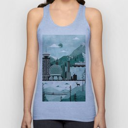 Vancouver Travel Poster Illustration Unisex Tank Top