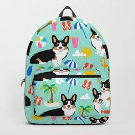 Tricolored Corgi Beach Day - cute tri corgi beach summer sun pattern Backpack