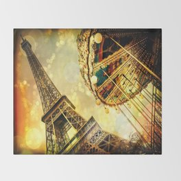 pariS. : Eiffel Tower & Ferris Wheel Throw Blanket