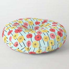 Bright Sunny Mod Poppy Flower Pattern Floor Pillow