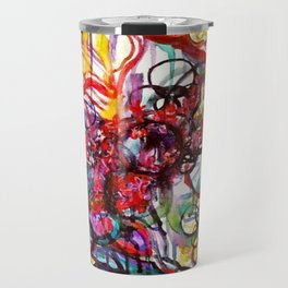 Whimsical Flower Girl's Force Field Acrylic and Watercolor Painting Travel Mug