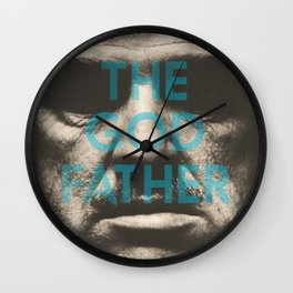 The Godfather, minimalist movie poster, Marlon Brando, Al Pacino, Francis Ford Coppola gangster film Wall Clock