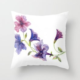 Watercolor branch of petunia. Throw Pillow