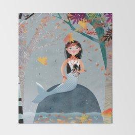 Milla Mermaid in the fall Throw Blanket