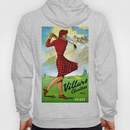 Vintage Villars Switzerland Golf Travel Poster Hoody