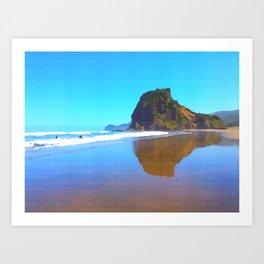 Majestic Lion Rock at famous Piha Beach on Auckland's West Coastline. Art Print