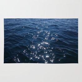 Sparkly Deep Blue Sea Waves Rug