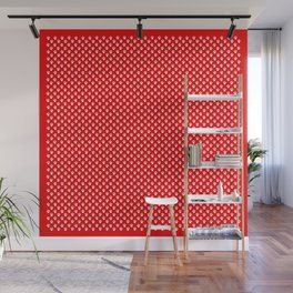 Tiny Paw Prints Pattern - Bright Red & White Wall Mural