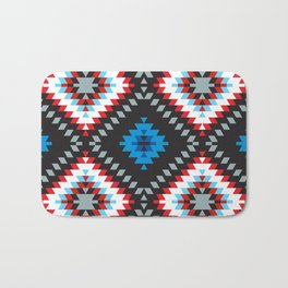 Colorful patchwork mosaic oriental kilim rug with traditional folk geometric ornament. Tribal style Bath Mat