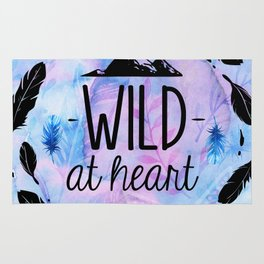 Wild at Heart - Boho Watercolor Feathers Rug