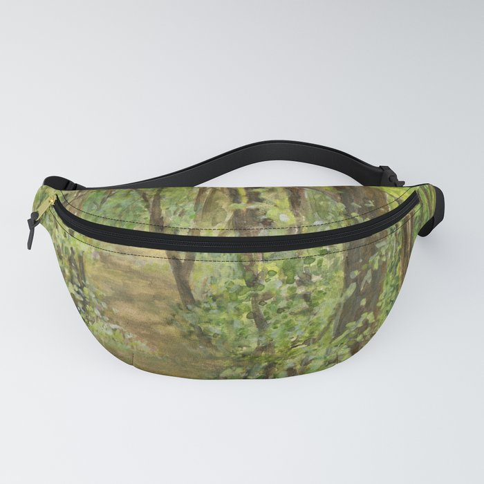 Wooded Path Watercolor Landscape Detailed Realism Fanny Pack