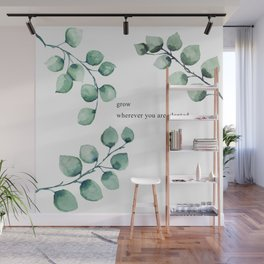 Grow wherever you are planted watercolor florals Wall Mural