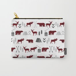 Camping cabin life chalet all day plaid moose deer bear pattern outdoors nature lover Carry-All Pouch