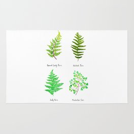 fern collection watercolor Rug