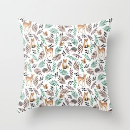 Cute forest. Watercolor Throw Pillow