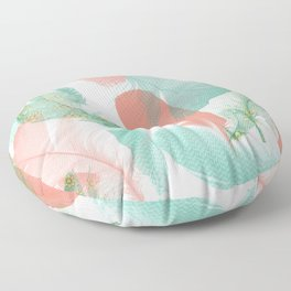 Peach and Turquoise Feathers Floor Pillow