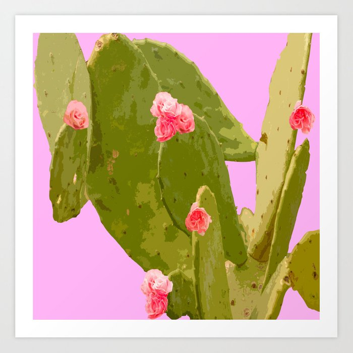 Green cactus with pink flowers on a bright pink background summer green cactus with pink flowers on a bright pink background summer mood art print mightylinksfo