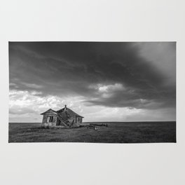 Sweeping Down the Plains - Abandoned House and Storm in Oklahoma Rug