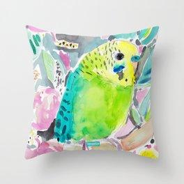 DISCO THE PARAKEET Throw Pillow