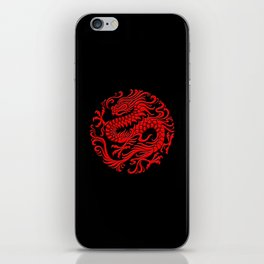 Traditional Red Chinese Dragon Circle iPhone Skin