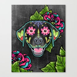 Labrador Retriever - Black Lab - Day of the Dead Sugar Skull Dog Canvas Print