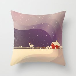 Peaceful Snowy Christmas (Plum Purple) Throw Pillow
