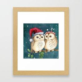Cute Christmas Winter Owl Couple Painting Framed Art Print