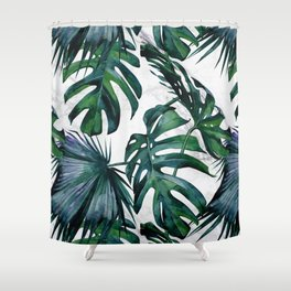 Tropical Palm Leaves Classic on Marble Shower Curtain