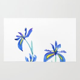 blue iris watercolor Rug