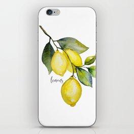 Lemon watercolor iPhone Skin