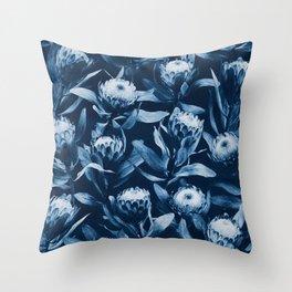 Evening Proteas - Denim Blue Throw Pillow
