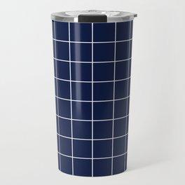 Indigo Navy Blue Grid Travel Mug
