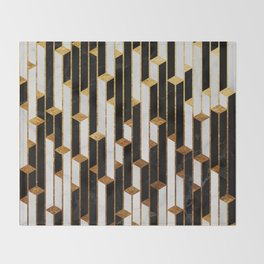 Marble Skyscrapers - Black, White and Gold Throw Blanket