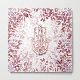 Modern burgundy faux rose gold Hamsa Hand of Fatima floral Metal Print