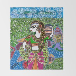 The Indian Fisher Woman Throw Blanket