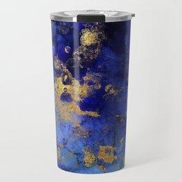 Gold And Blue Indigo Malachite Marble Travel Mug