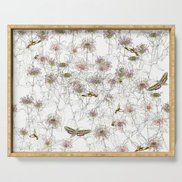 Moths on Bee Balm Serving Tray