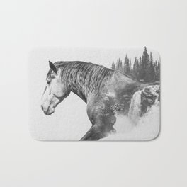 Horse | Abstract Photography | Art | Black-and-White | Animal | Double-Exposure | B&W | Fog Bath Mat