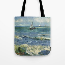 The Sea at Les Saintes-Maries-de-la-Mer by Vincent van Gogh Tote Bag