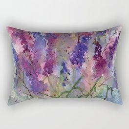 Delphinium Blues, from my original watercolor Rectangular Pillow
