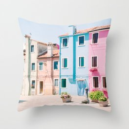 Colorful houses in Burano Throw Pillow