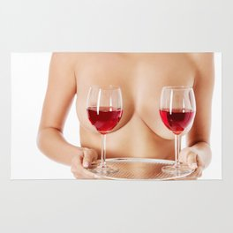 Exotic wine glasses covering breasts Rug