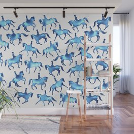 Turquoise Dressage Horse Silhouettes Wall Mural