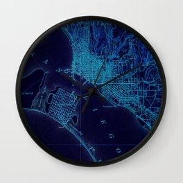 San Diego art map, blue art map Wall Clock