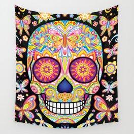 Sugar Skull Art (Mariposa) Wall Tapestry