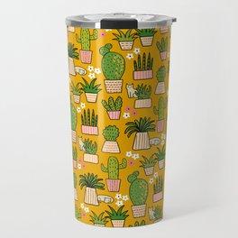 Cactus Cat Yellow Travel Mug