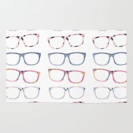 Bespectacled // Watercolor Glasses Print Rug